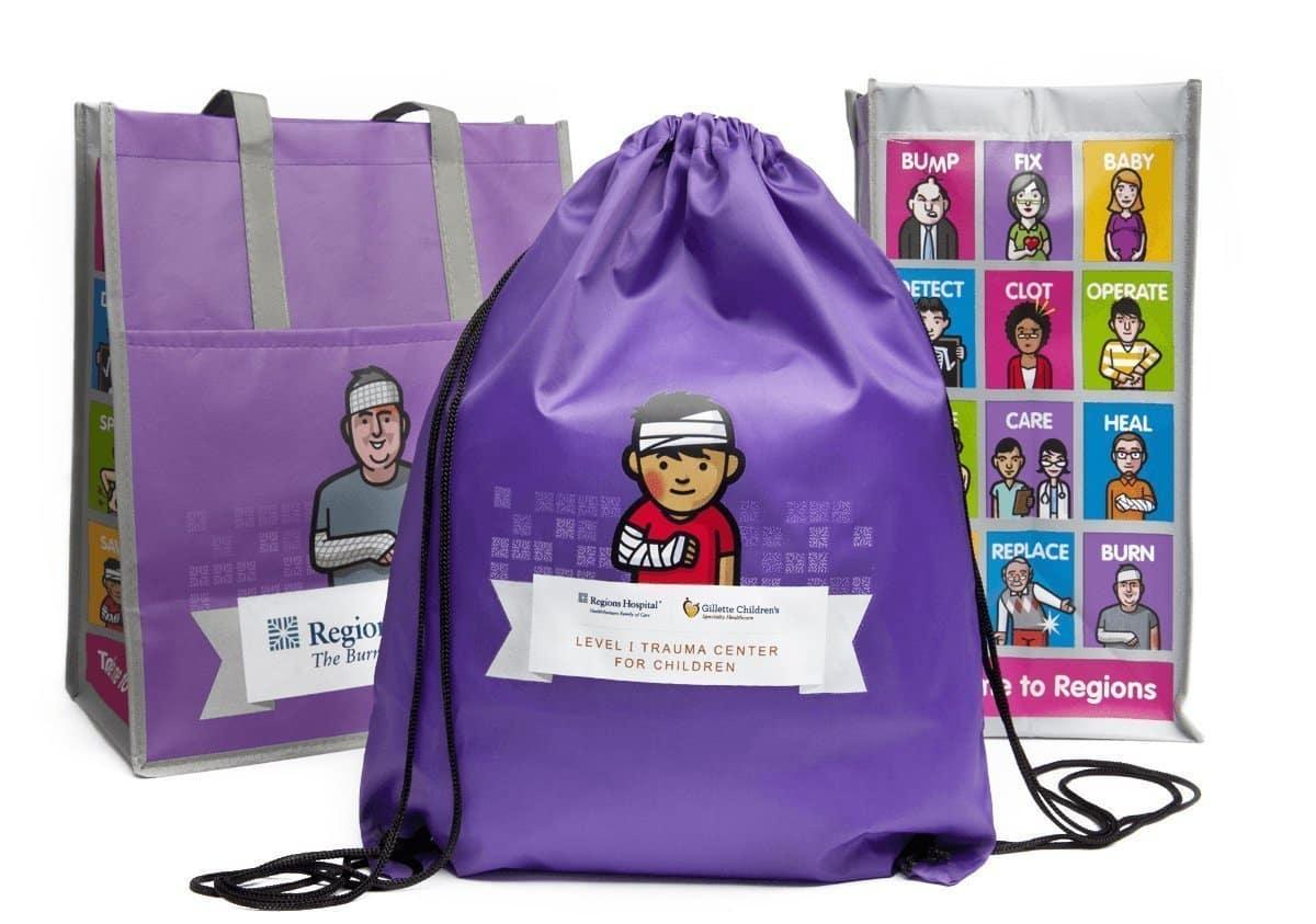 Purple drawstring bag for Regions Hospital