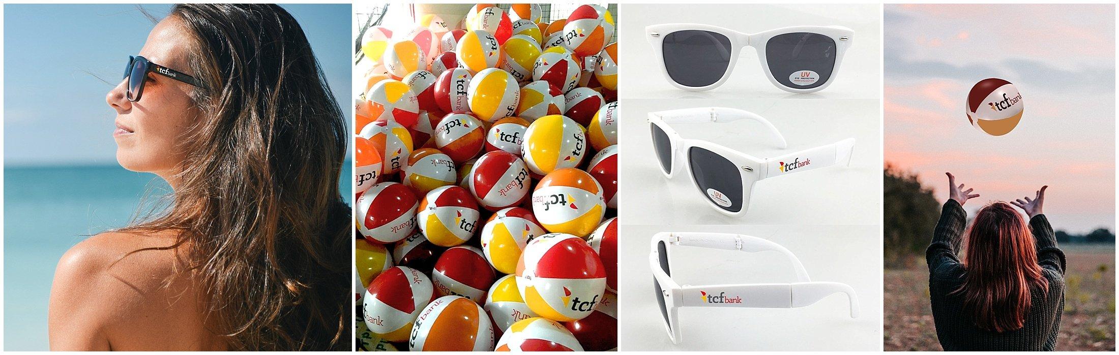 Custom sunglasses, lip balm, and beach balls for TCF's summer employee appreciation event