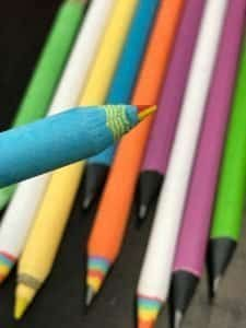 Multicolored pencil made from paper