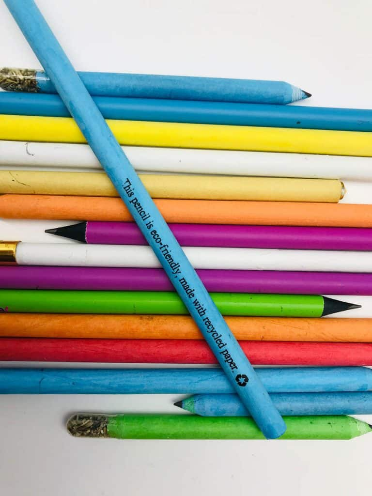 Set of pencils made from recycled, multicolored paper