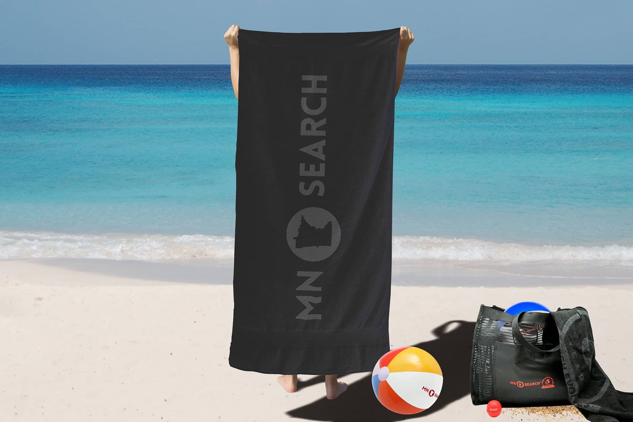 Beach-themed merchandise for MN Search Summit