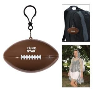 Poncho in football shaped clip-on case-branded merchandise from Creative Resources