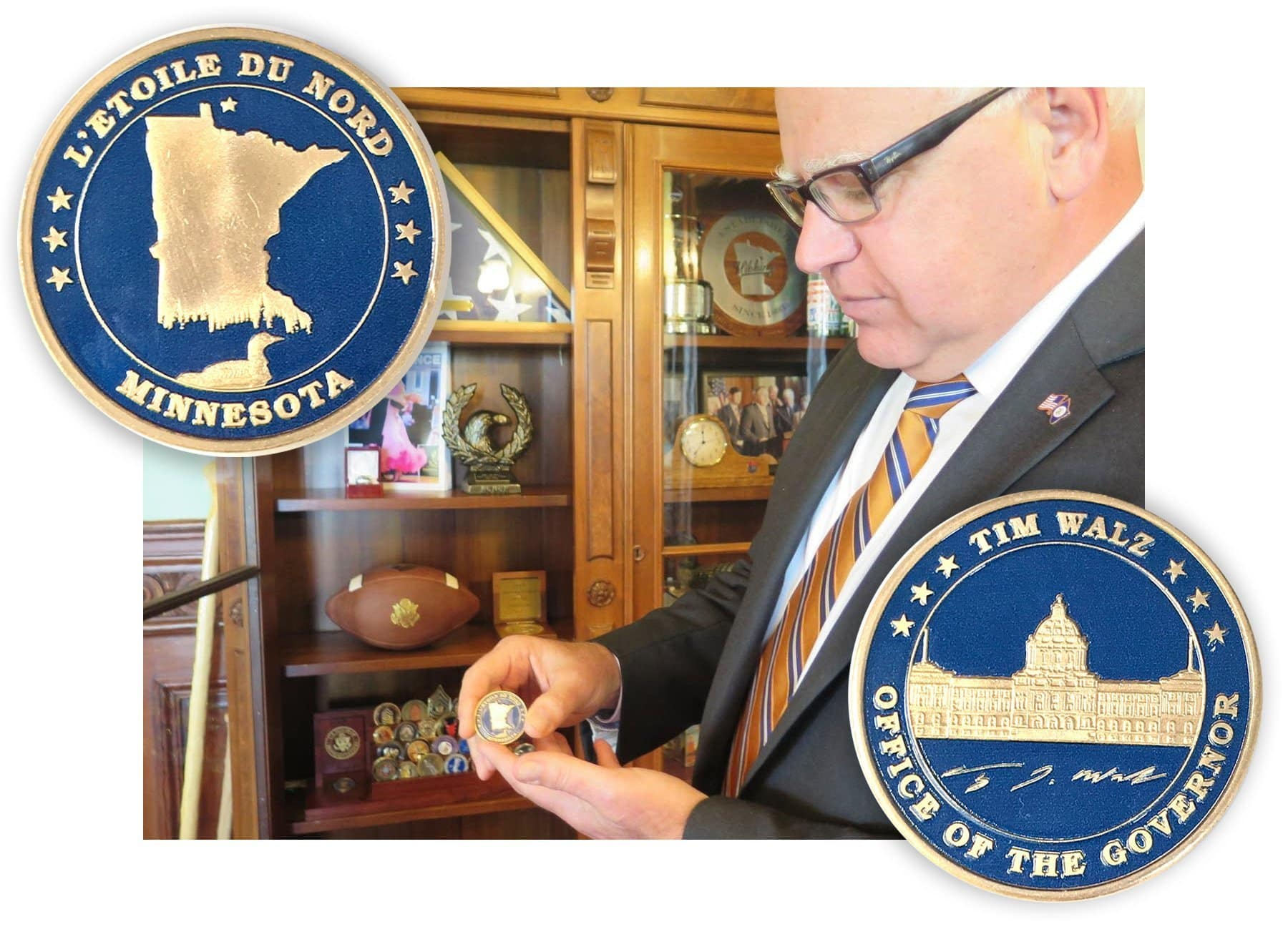 "Minnesota Governor Tim Walz with the custom made ""Challenge Coin"" designed by Creative Resources. Photo by Brian Bakst 